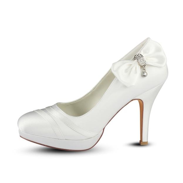 Close Toe Platform Stiletto Heel Satin Wedding Shoes With Bowknot Crystal