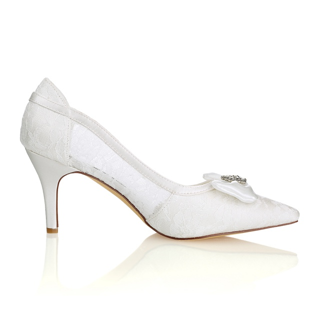 Close Toe Sandals Stiletto Heel Lace Wedding Shoes With Bowknot Rhinestone