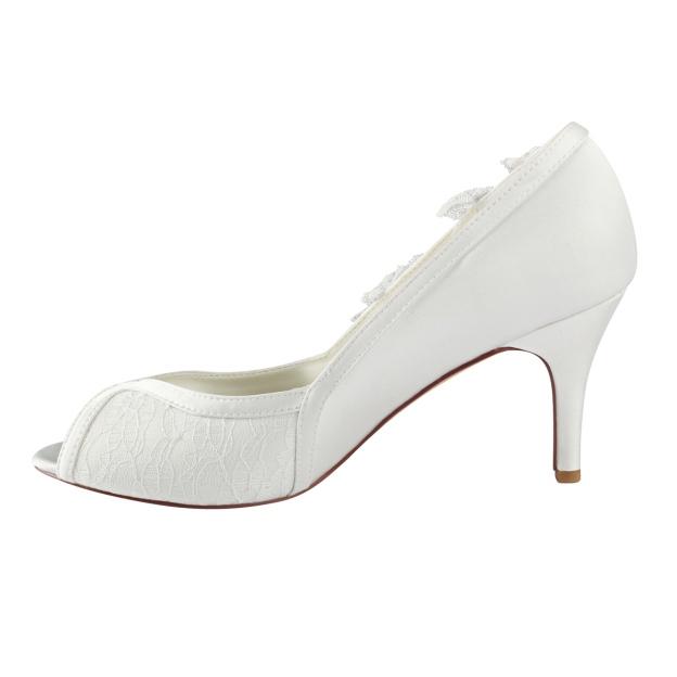 Peep Toe Stiletto Heel Satin Wedding Shoes With Flowers Lace
