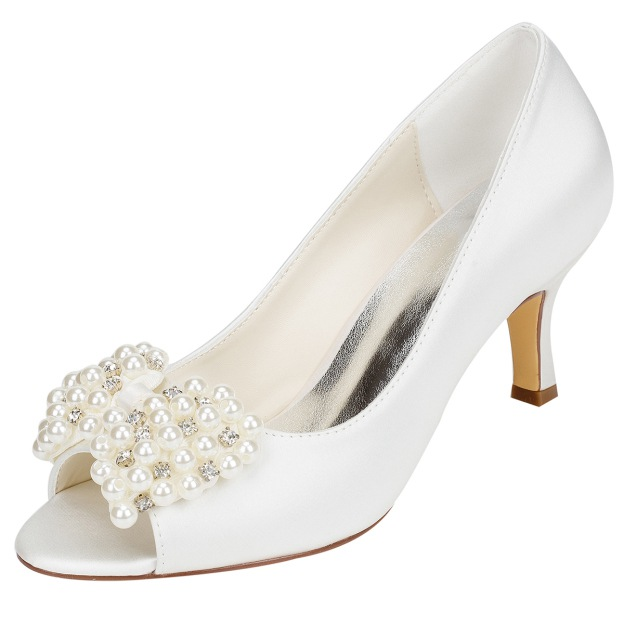 Peep Toe Stiletto Heel Charmeuse Wedding Shoes With Imitation Pearl Rhinestone