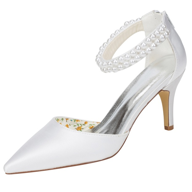 Close Toe Stiletto Heel Charmeuse Wedding Shoes With Pearl