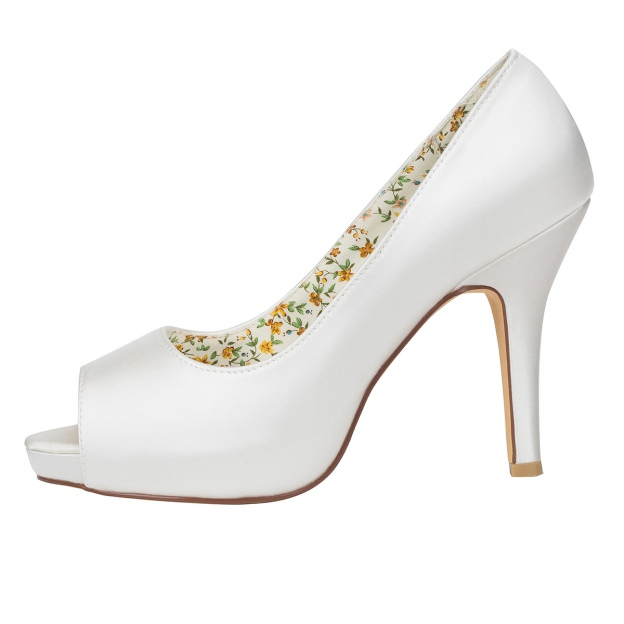 Peep Toe Platform Stiletto Heel Charmeuse Wedding Shoes