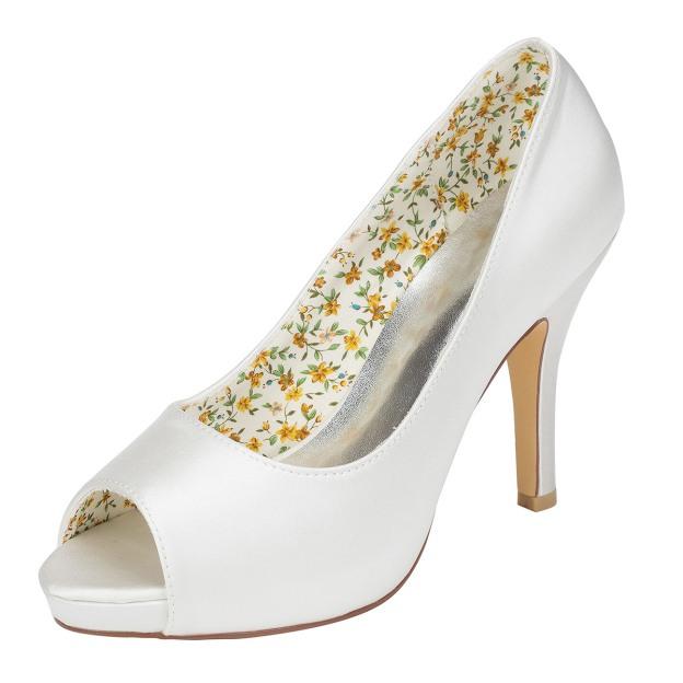Peep Toe Platform Stiletto Heel Charmeuse Wedding Shoes