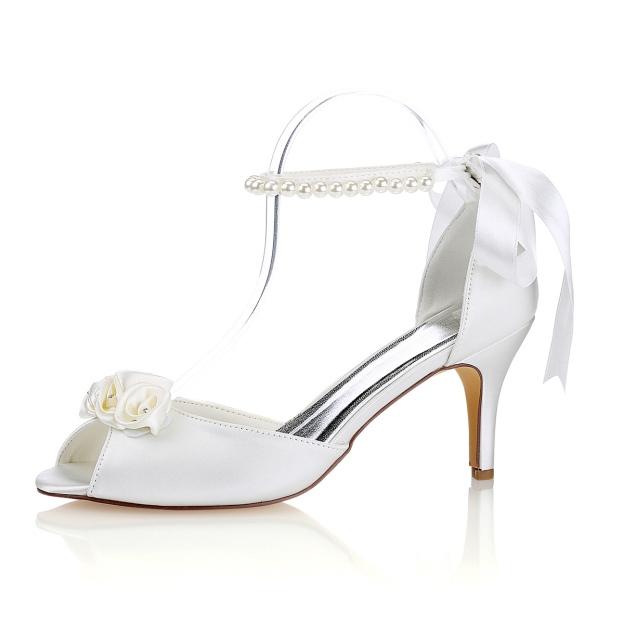 Peep Toe Sandals Stiletto Heel Satin Wedding Shoes With Flowers Imitation Pearl