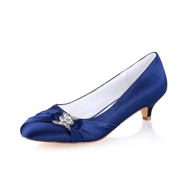 Close Toe Kitten Heel Satin Wedding Shoes With Crystal Ruffles