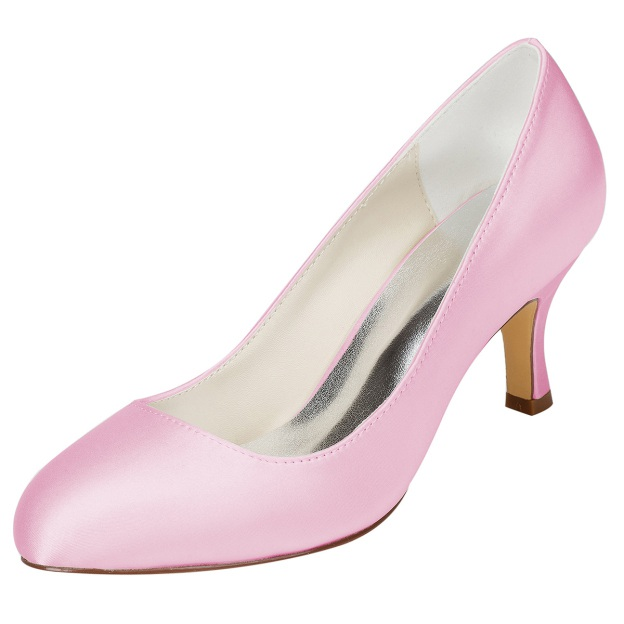 Close Toe Chunky Heel Charmeuse Wedding Shoes