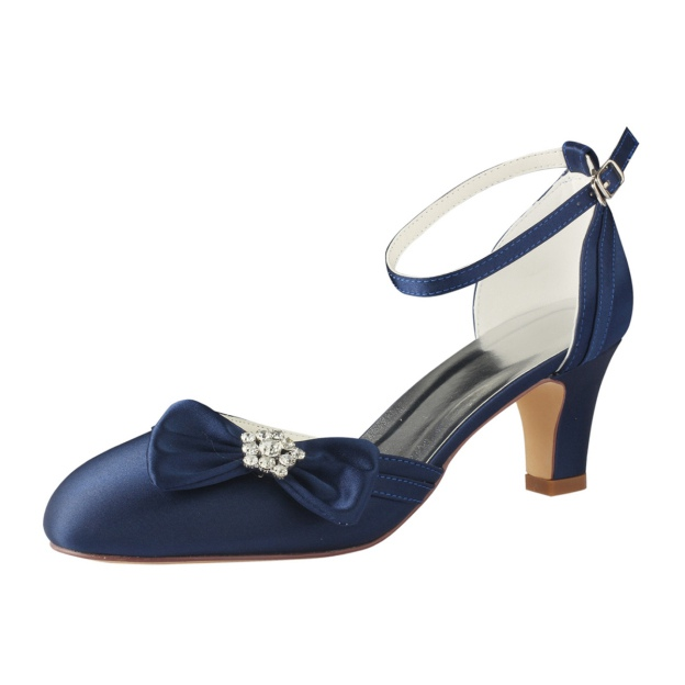 Close Toe Chunky Heel Satin Wedding Shoes With Bowknot Rhinestone
