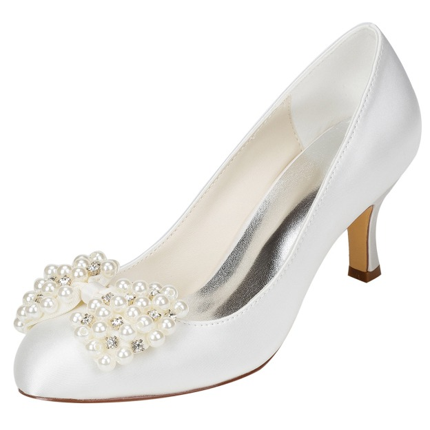 Close Toe Stiletto Heel Charmeuse Wedding Shoes With Imitation Pearl