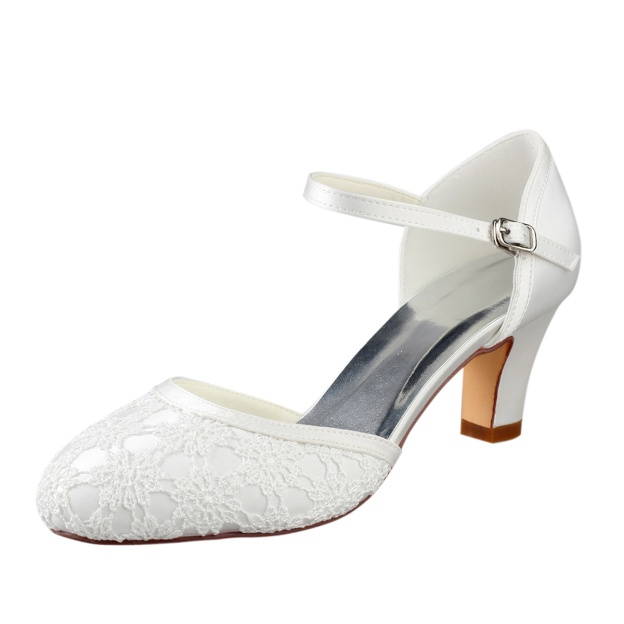 Close Toe Chunky Heel Lace Wedding Shoes