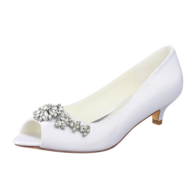 Peep Toe Kitten Heel Satin Wedding Shoes With Crystal