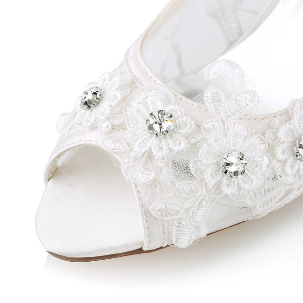 Peep Toe Sandals Chunky Heel Lace Wedding Shoes With Flowers Rhinestone