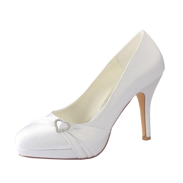 Close Toe Platform Stiletto Heel Satin Wedding Shoes With Rhinestone Ruffles