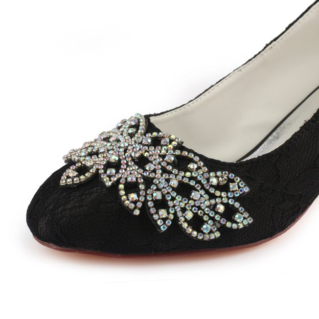 Close Toe Chunky Heel Lace Wedding Shoes With Beaded