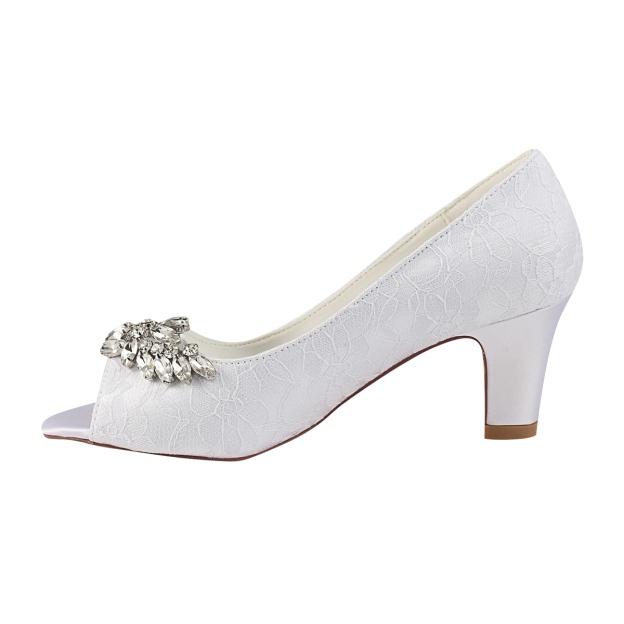 Peep Toe Chunky Heel Lace Wedding Shoes With Beaded Rhinestone