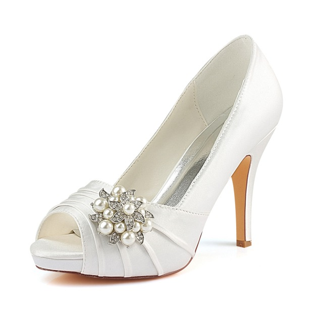 Peep Toe Platform Stiletto Heel Satin Wedding Shoes With Rhinestone