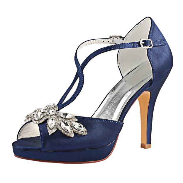 Peep Toe Platform Stiletto Heel Satin Wedding Shoes With Crystal
