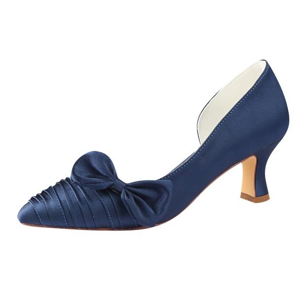 Close Toe Spool Heel Satin Wedding Shoes With Bowknot Ruffles