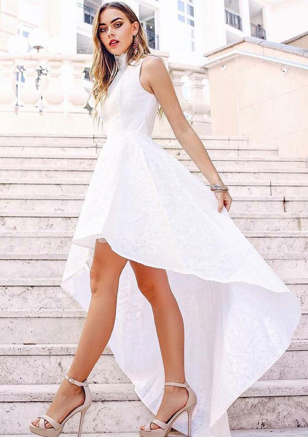 A-Line/Princess High-Neck Sleeveless Asymmetrical Lace Prom Dress