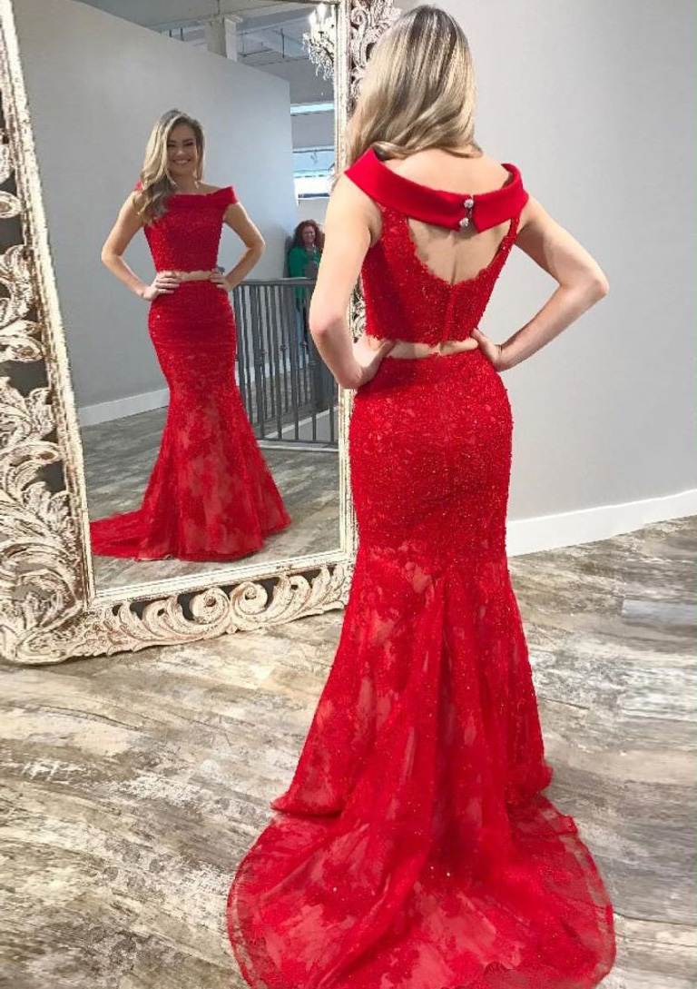 Trumpetmermaid Off The Shoulder Sleeveless Court Train Lace Prom Dress Feeltimes