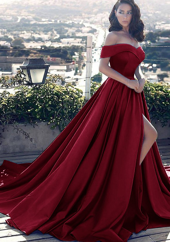 6217912548 A-line Princess Off-the-Shoulder Sleeveless Court Train Satin Prom Dress  With Pleated Split