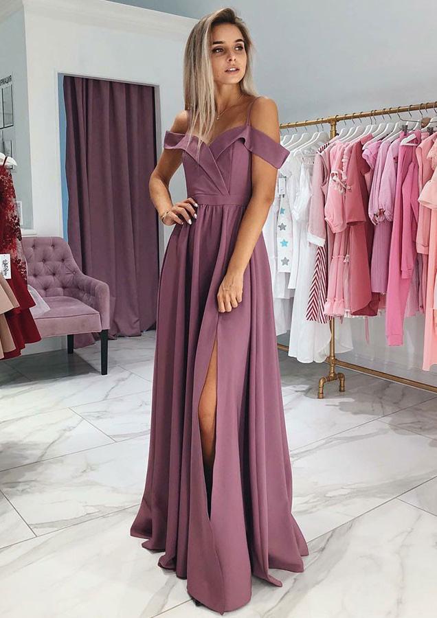 A-Line/Princess Off-The-Shoulder Sleeveless Long/Floor-Length Elastic Satin Prom Dress With Split