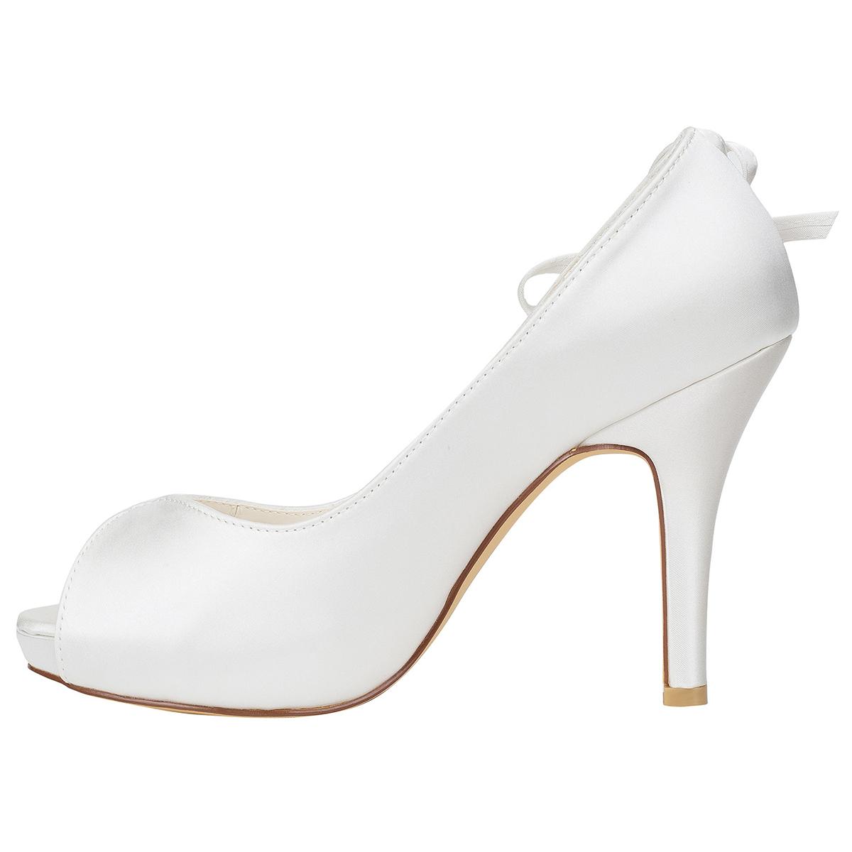 Peep Toe Platform Stiletto Heel Charmeuse Wedding Shoes With Rhinestone