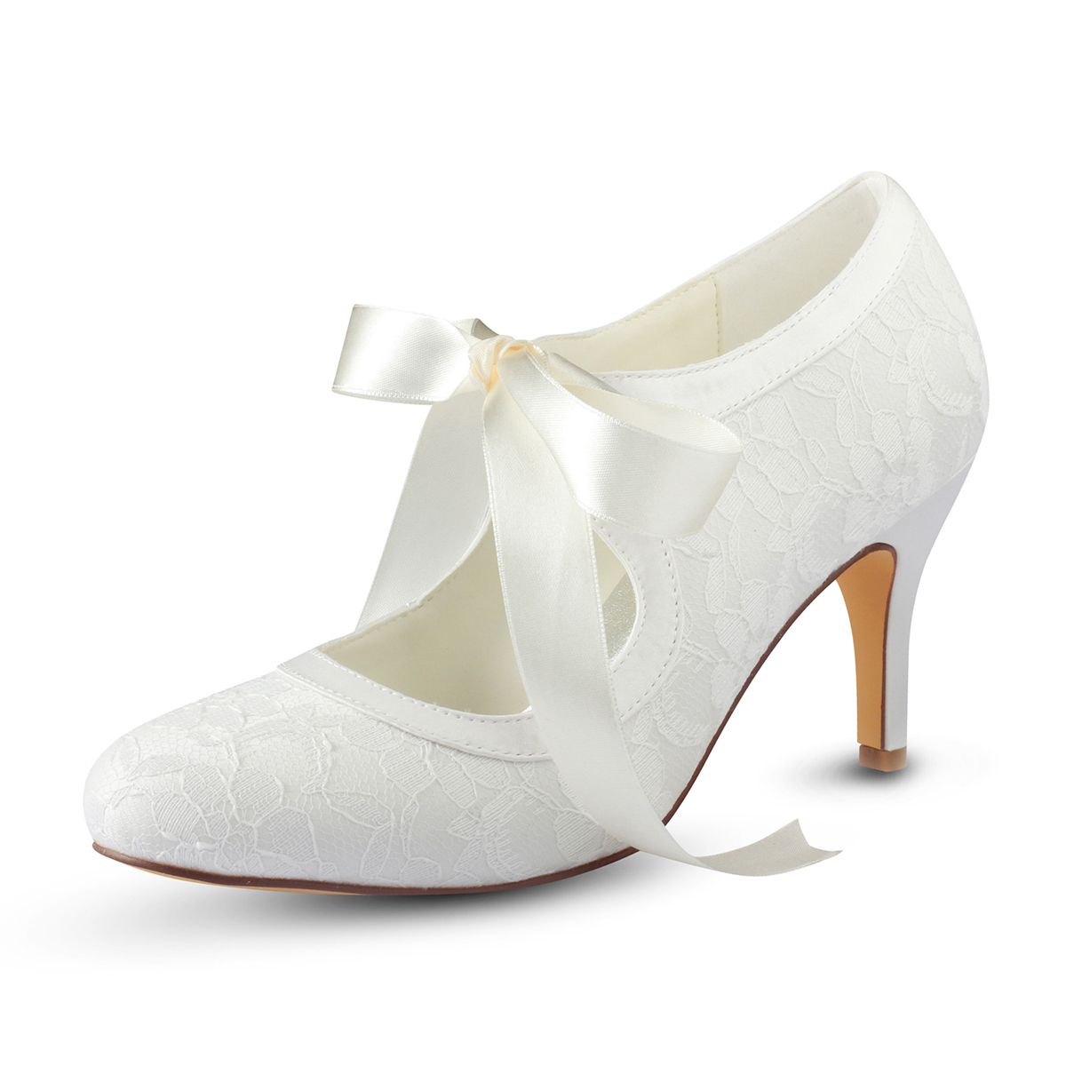 Close Toe Stiletto Heel Lace Wedding Shoes With Bowknot