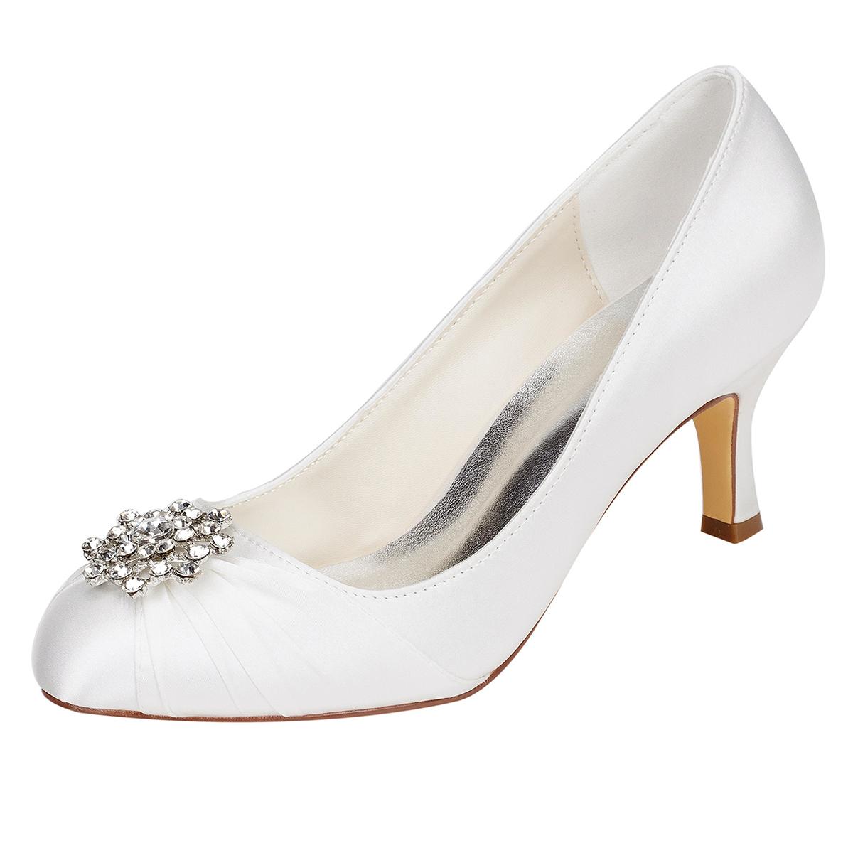 Close Toe Stiletto Heel Charmeuse Wedding Shoes With Rhinestone