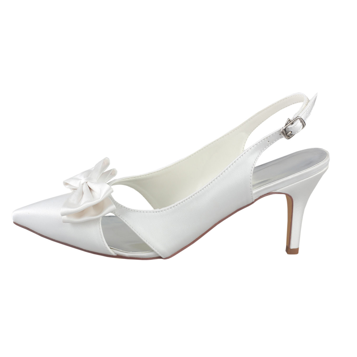 Close Toe Sandals Stiletto Heel Satin Wedding Shoes With Bowknot