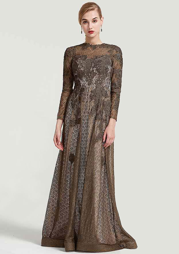 A-Line/Princess Scoop Neck 3/4 Sleeve Long/Floor-Length Lace Mother Of The Bride Dress With Appliqued