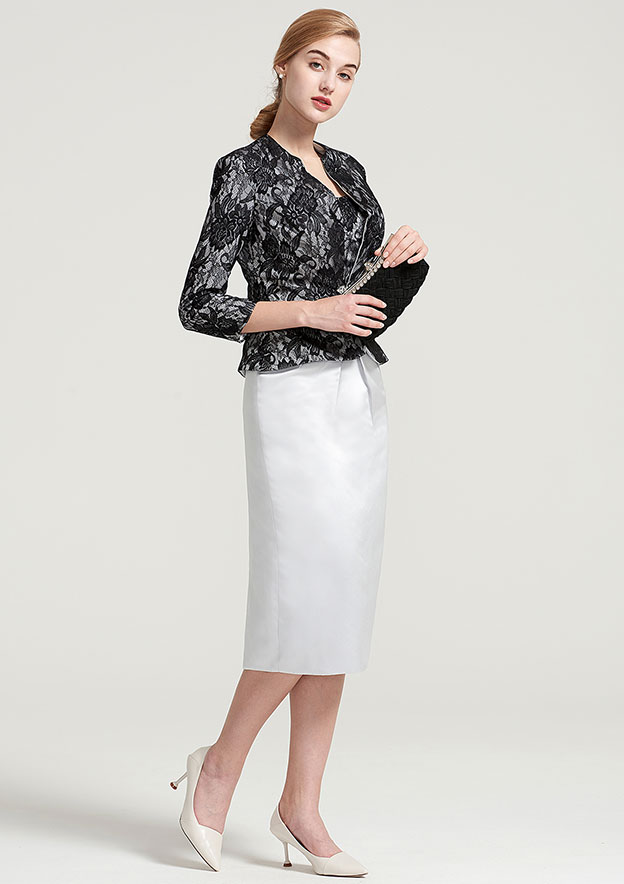 Sheath/Column Bateau Sleeveless Knee-Length Satin Mother Of The Bride Dress With Jacket