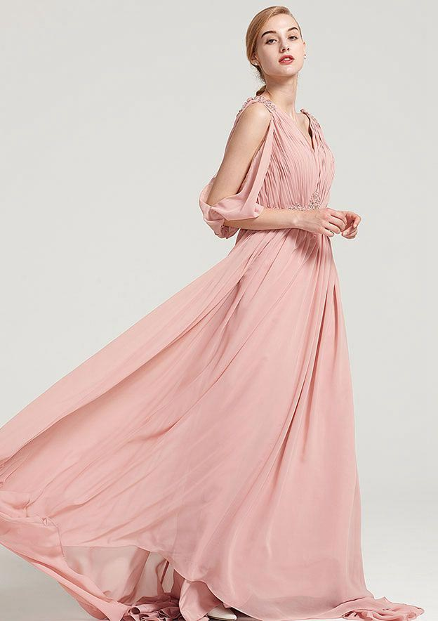 A-Line/Princess V Neck 3/4 Sleeve Sweep Train Chiffon Dress With Appliqued