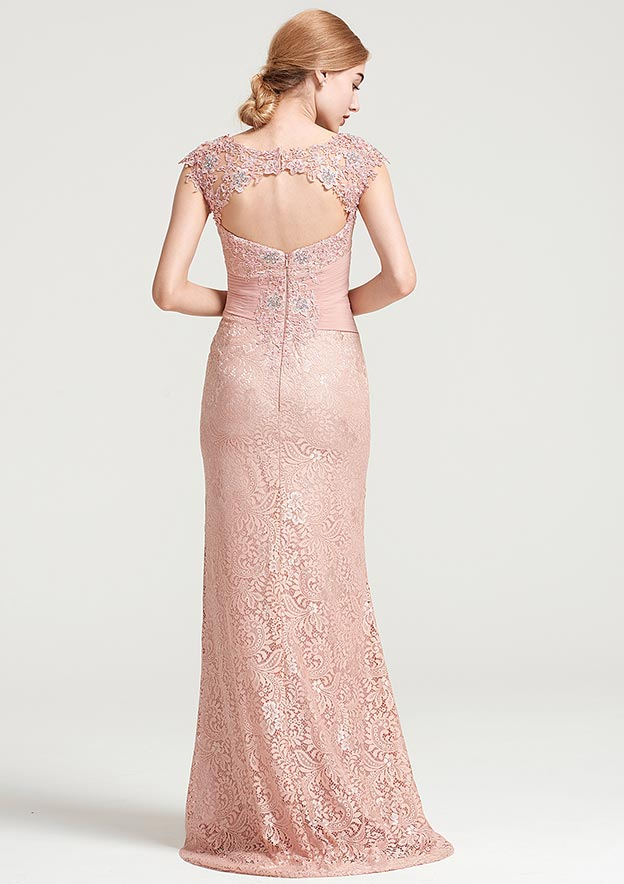 Sheath/Column Bateau Sleeveless Long/Floor-Length Lace Dress With Ruffles Appliqued Pleated