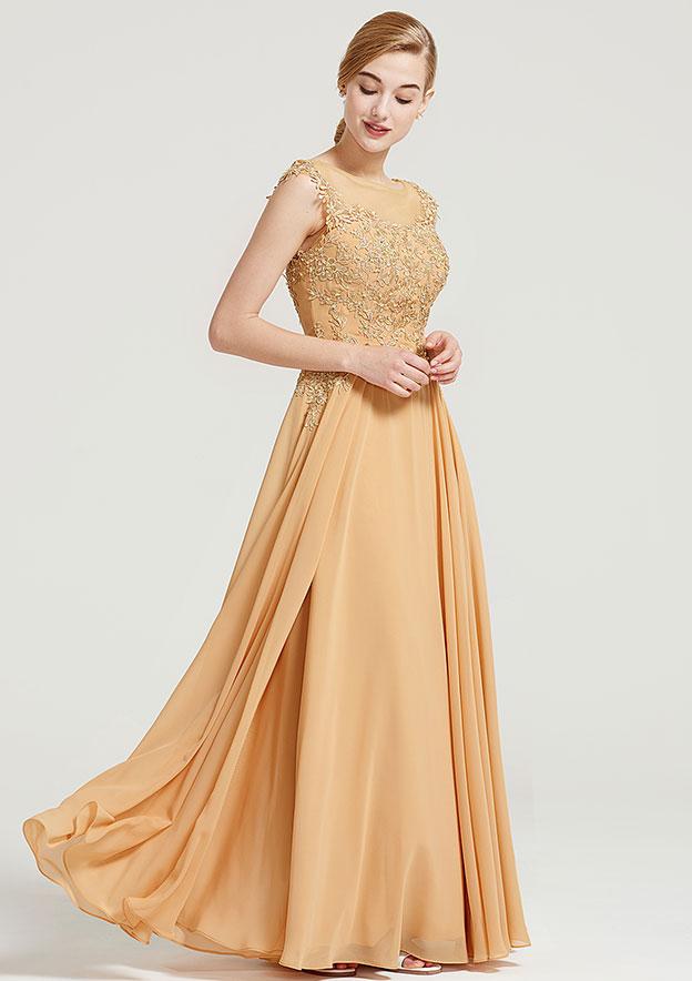 A-Line/Princess Bateau Sleeveless Long/Floor-Length Chiffon Dress With Appliqued