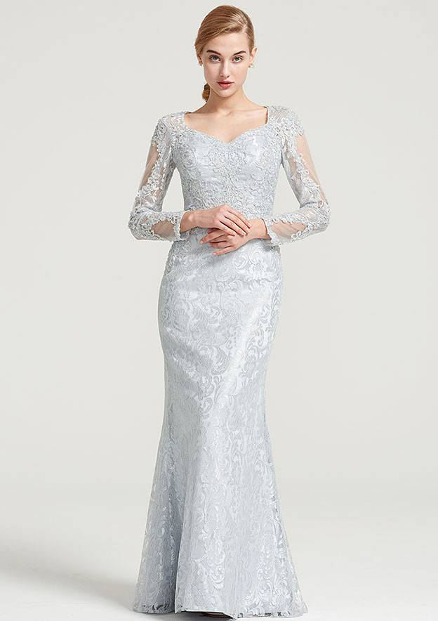 Sheath/Column Sweetheart Full/Long Sleeve Long/Floor-Length Lace Dress With Appliqued