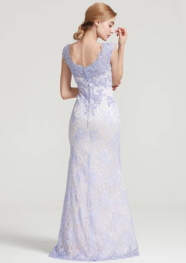 Sheath/Column V Neck Sleeveless Long/Floor-Length Lace Dress With Sequins Appliqued