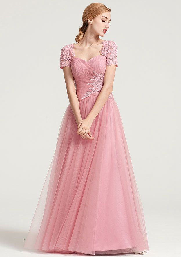 A-Line/Princess Sweetheart Short Sleeve Long/Floor-Length Tulle Mother Of The Bride Dress With Pleated Appliqued