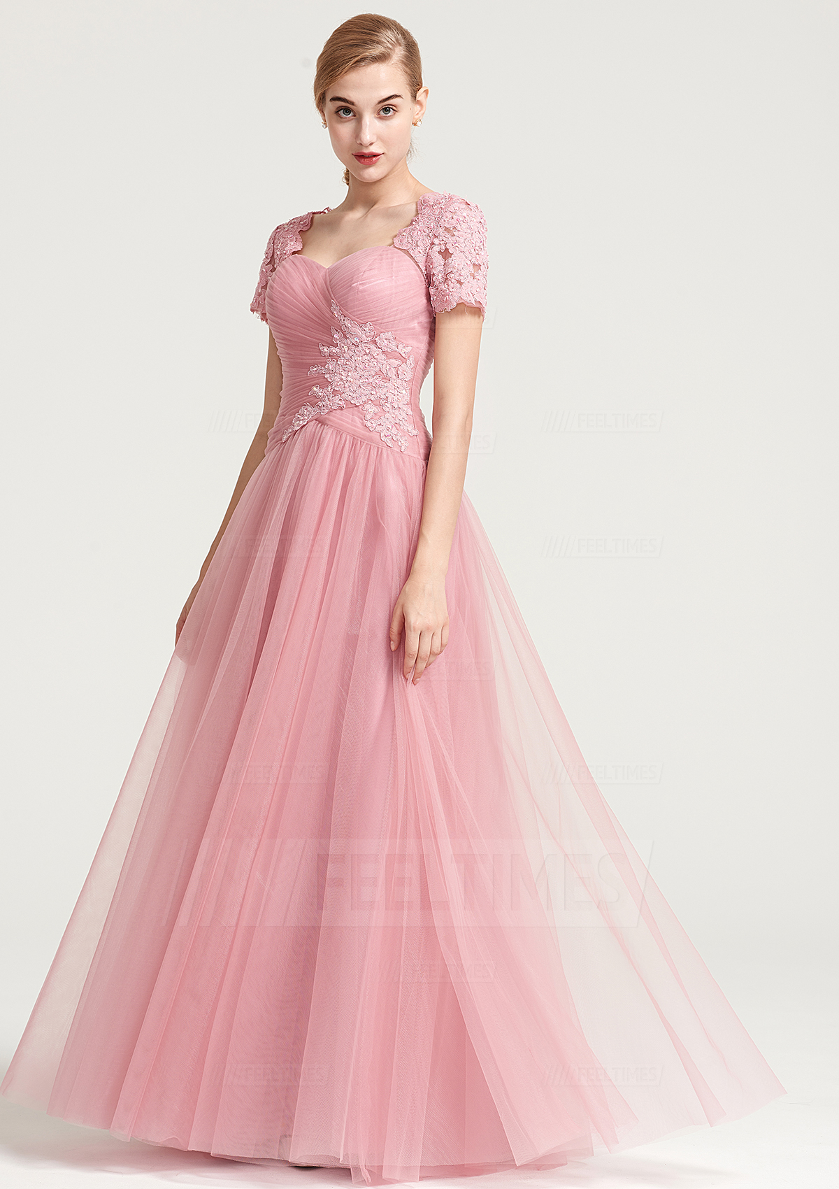 046291ae6450 A-Line/Princess Sweetheart Short Sleeve Long/Floor-Length Tulle Prom Dress  With Appliqued Pleated