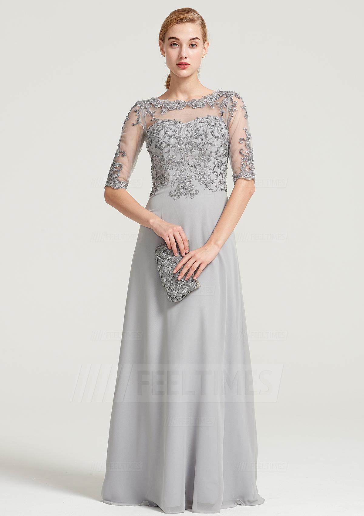 dbff52bb21cf1 A-Line/Princess Bateau Half Sleeve Long/Floor-Length Chiffon Dress ...