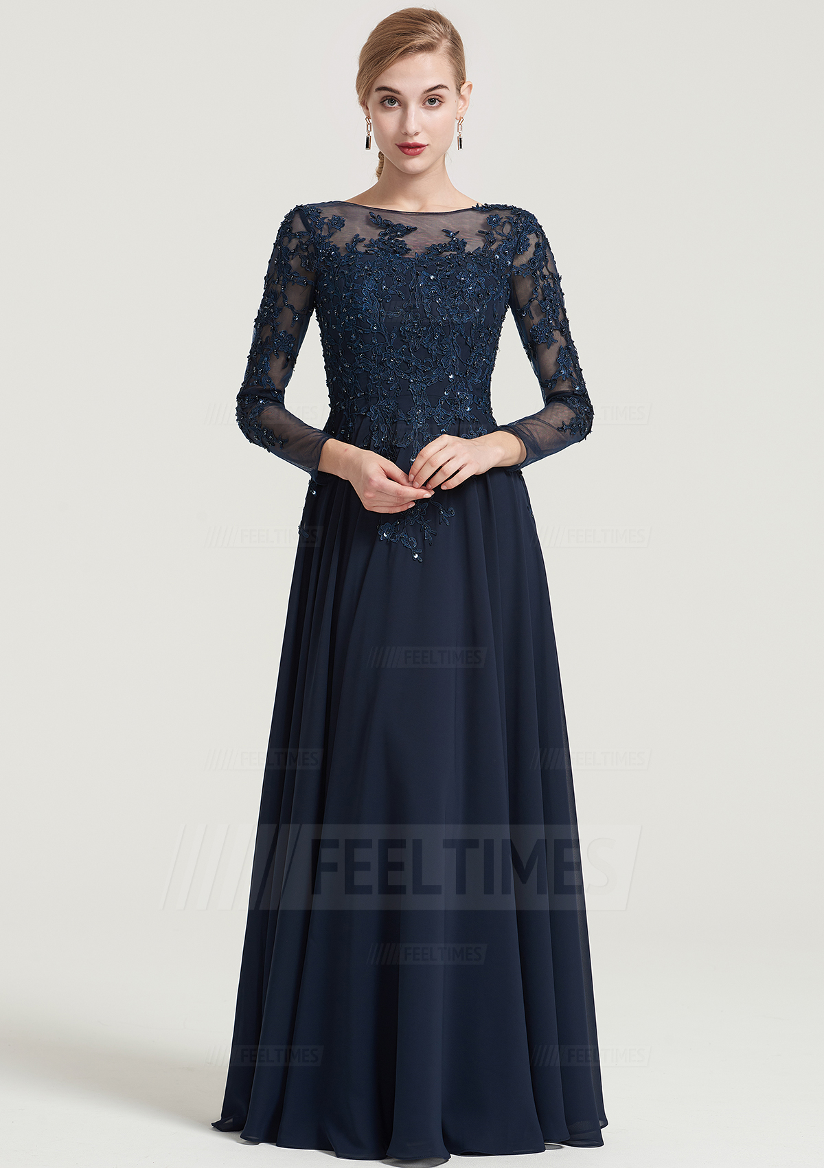 A-Line/Princess Bateau 3/4 Sleeve Long/Floor-Length Chiffon Dress With Beading Appliqued