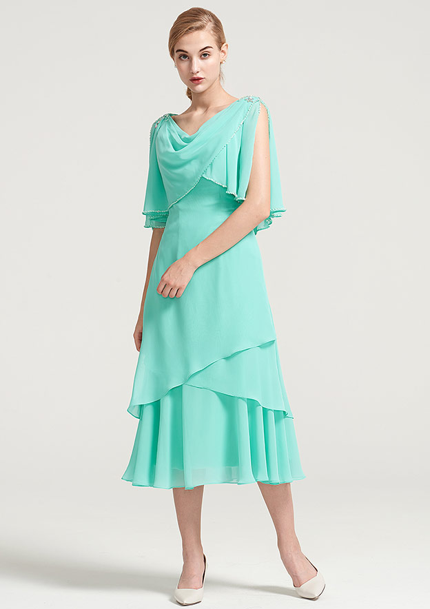 Sheath/Column Cowl Neck Sleeveless Tea-Length Chiffon Mother Of The Bride Dress With Side Draping Crystal Detailing Ruffles