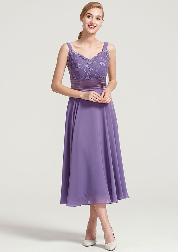 A-Line/Princess Sweetheart Sleeveless Tea-Length Chiffon Mother Of The Bride Dress With Jacket Lace Pleated