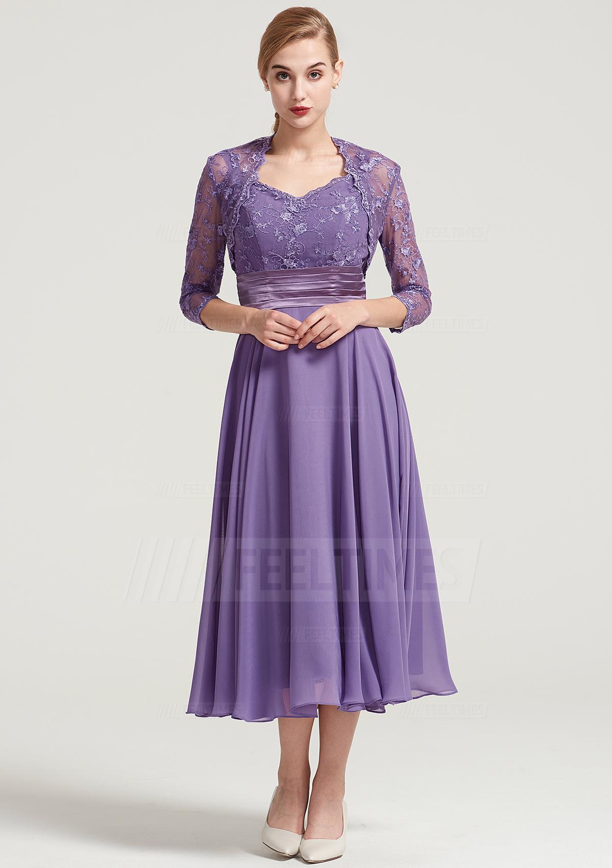 a2563a9ddb A-line Princess Sweetheart Sleeveless Tea-Length Chiffon Mother of ...