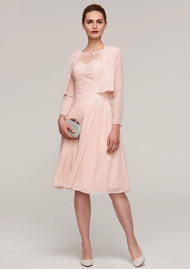 A-Line/Princess Bateau Sleeveless Knee-Length Chiffon Mother Of The Bride Dress With Jacket Appliqued Beading