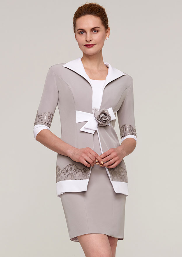 3/4 Sleeve Waist Length Elastic Satin Jackets & Wraps With Appliqued Flowers