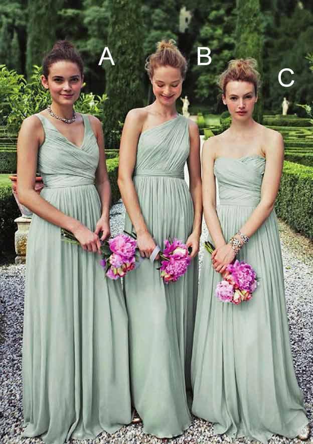 A-Line/Princess V Neck Sleeveless Long/Floor-Length Chiffon Bridesmaid Dresses