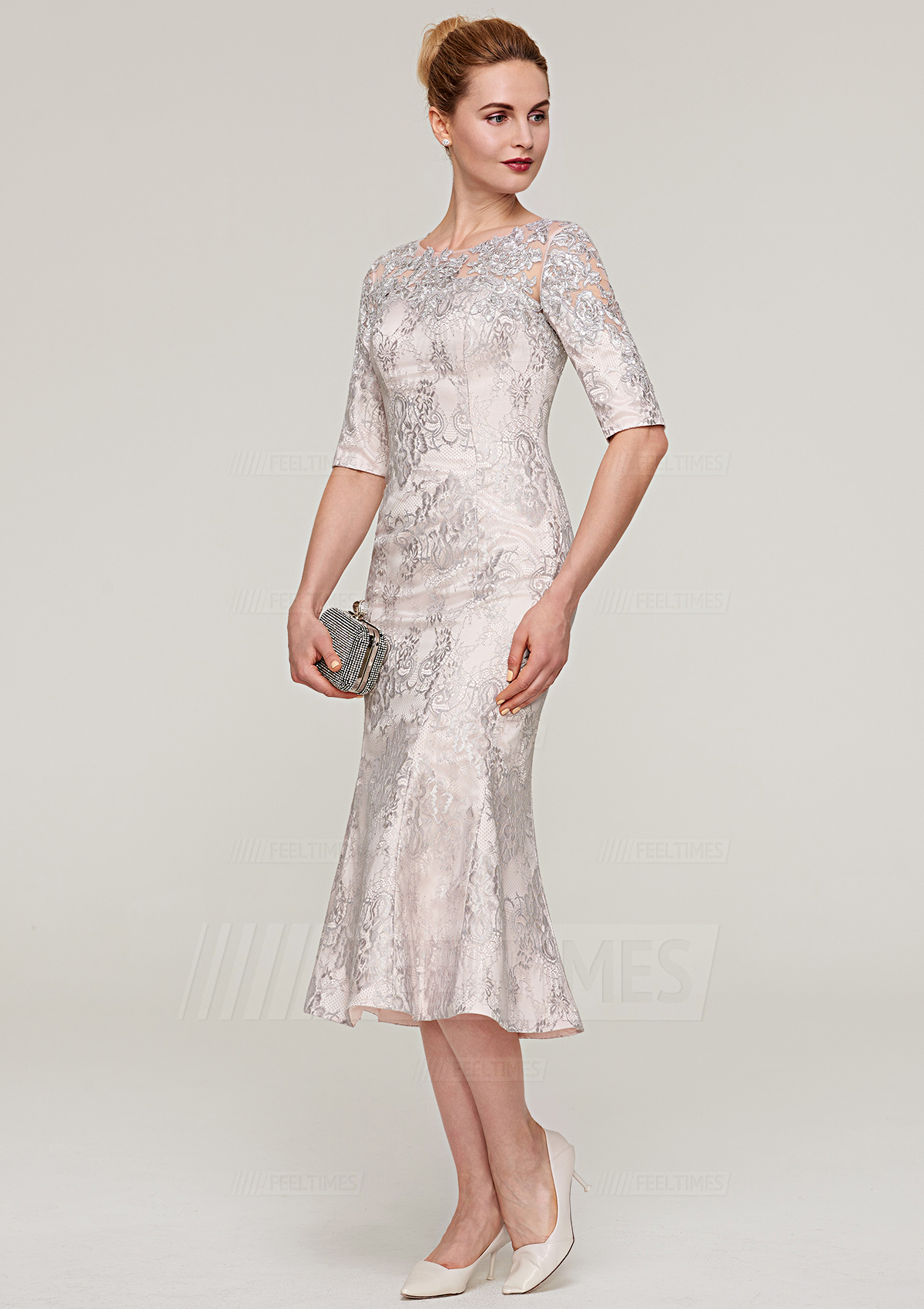 Sheathcolumn Bateau Half Sleeve Tea Length Lace Mother Of The Bride Dress With Appliqued Feeltimes