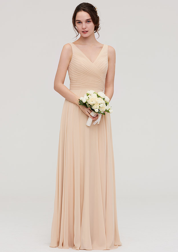 A-Line/Princess V Neck Sleeveless Long/Floor-Length Chiffon Bridesmaid Dress With Sashes Pleated