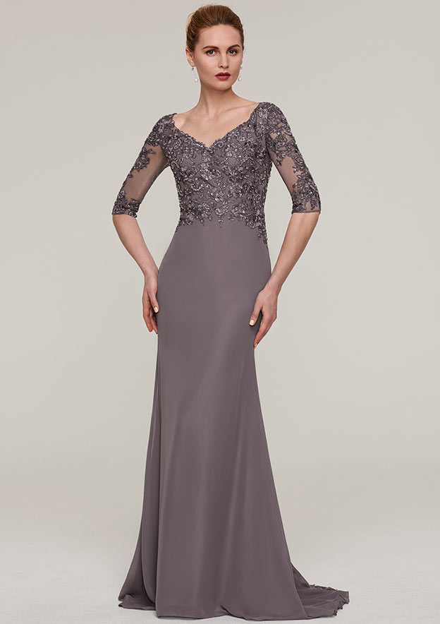 Sheath/Column V Neck Half Sleeve Sweep Train Chiffon Mother Of The Bride Dress With Appliqued Beading