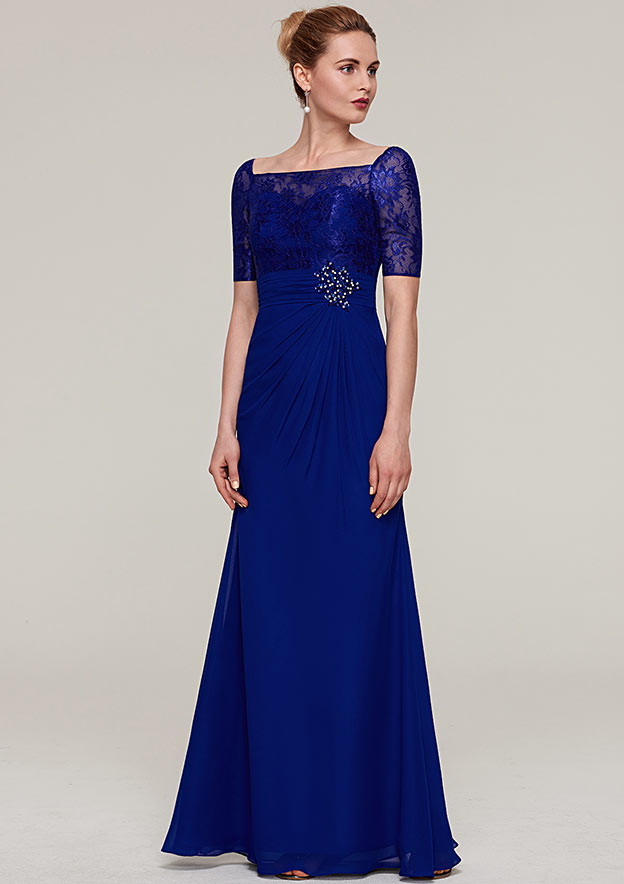 Sheath/Column Square Neckline Short Sleeve Long/Floor-Length Chiffon Mother Of The Bride Dress With Pleated Appliqued Beading